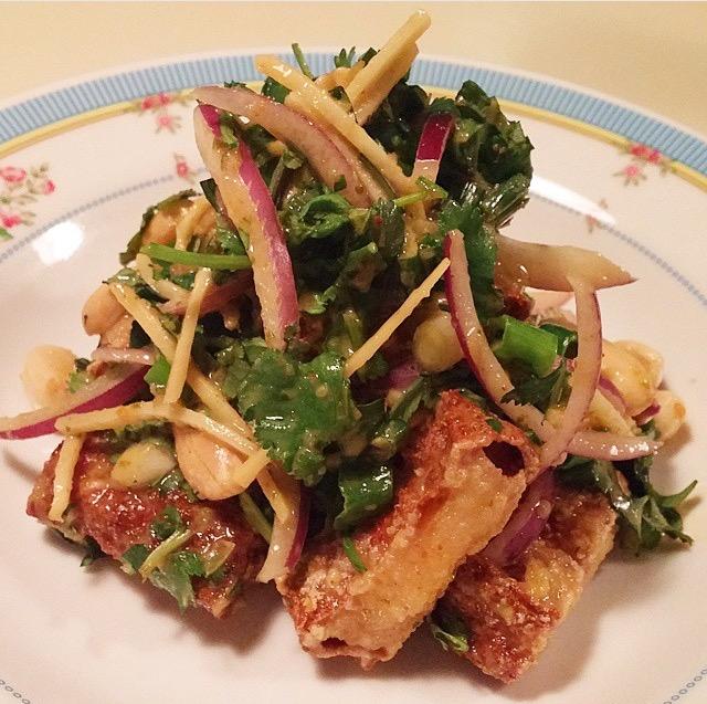 Tow Hu Thouk: tofu / cilantro root / peanut